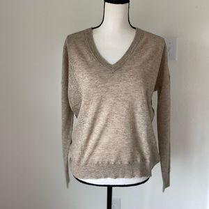 Zadig & Voltaire Tan V Neck Cashmere Sweater Med